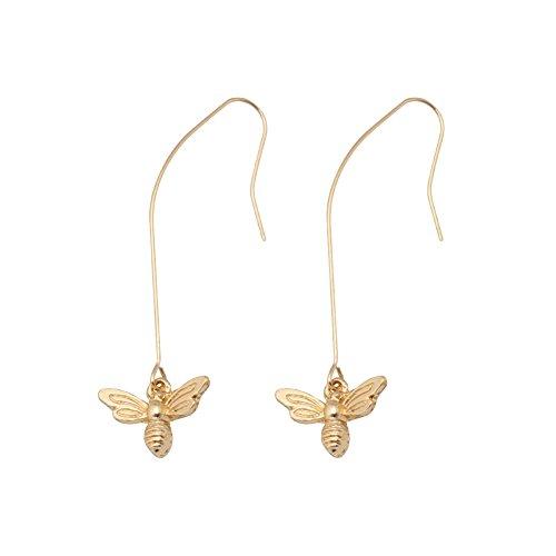 PU Ran Frauen Fashion Honey Bee Insekten baumeln Drop Haken Ohrringe Schmuck Zubehör Geschenk-Golden - Frauen Honey Drops