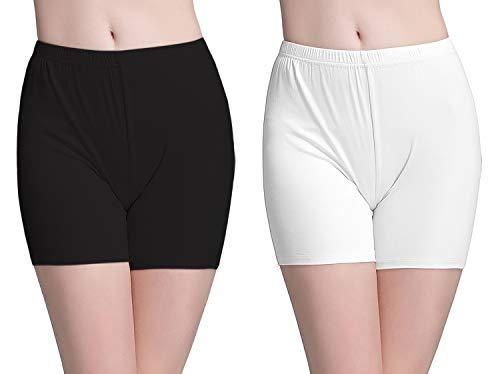 Vinconie Leggings Damen Kurz Radlerhose Baumwolle Hosen für Kleider Unterhosen, 2 Pack: Schwarz & Weiß, Large / (46 48)