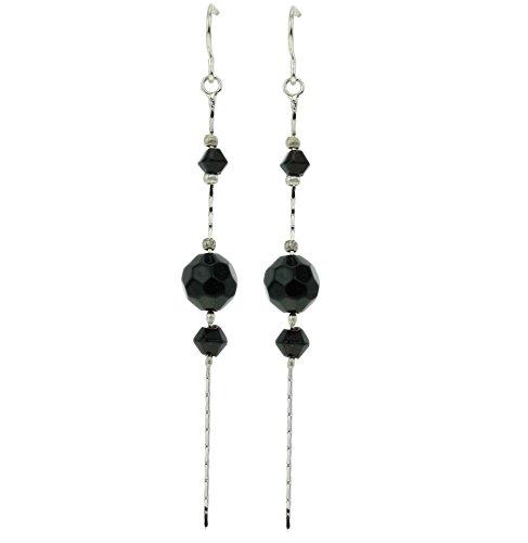 Lange vintage Ohrringe silber farbig mit schwarzen Steinen -