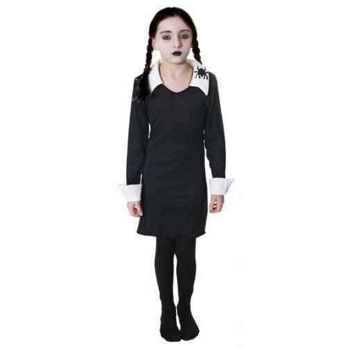 DDAMS FAMILY Halloween Buch Woche Kostüm Kleid Outfit 4-12 Jahre - Schwarz, 10-12 Years (Addams Kostüm)