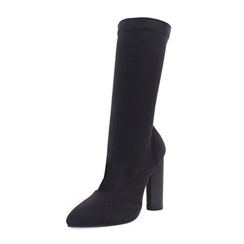 Aurora Beine (ALUK- Herbst und Winter - Europa und die Vereinigten Staaten Mode elastische Tuch reparieren Beine spitzte hochhackige Schuhe ( Farbe : Schwarz , größe : 35-foot length 225cm ))