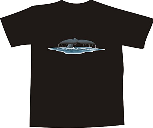 T-Shirt E613 Schönes T-Shirt mit farbigem Brustaufdruck - Logo / Grafik - Comic Design - Wal mit großer Flosse taucht ab ins Meer Mehrfarbig