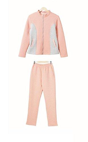 Pantaloni donna collo con cerniera pigiami pigiama di cotone 100% autunno inverno manica lunga , l