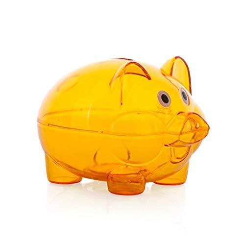 (Kurphy orange transparenter Kunststoff Geld sparen Box Fall Münzen Piggy Bank Cartoon Schwein geformt)