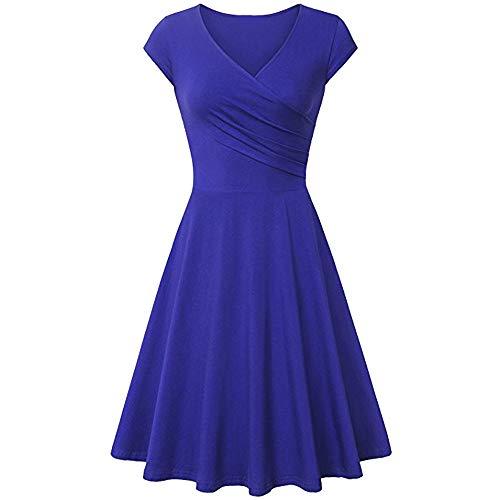 Damen ärmellos Rundausschnitt Falten A-Linie Partykleid Mini Cocktailkleid kurz Festliche Kleid Normallack der Frauen dünnes kurzes Hülsenkleid