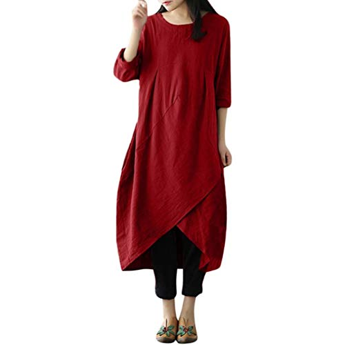KOKOUK Women Dresses, Ladies Long Sleeve Tunic Baggy Long Maxi Dress Plus Size (Marilyn Monroe Vintage Kostüm)