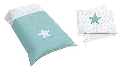 Alondra Mare 181 - Set nórdico y protector bebé con estrellas, 70 x 140 cm, color blanco/verde agua
