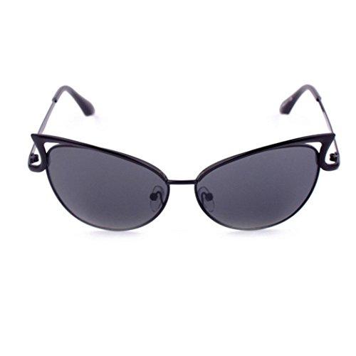�nner Frauen Metallrahmen Spiegel Sonnenbrille Cat Eye Brillenmode Klare Gläser Kurzsichtigkeit Brille Schick Verspiegelt Sonnenbrille Unisex Vintage Retro Sunglass (Schwarz) (Klar Verspiegelten Sonnenbrillen)