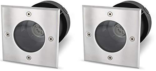 Lot de 2 - Sol GU10 IP65 Lampe encastrable carrée - Acier inoxydable/verre - jusqu'à 1000 kg befahrbar