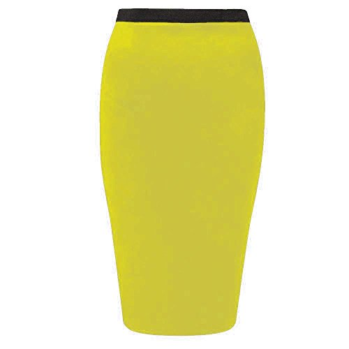 Womens Plain Office Work Pencil Ladies Stretch Bodycon Mini Midi Skirt Size 8-26 Gelb