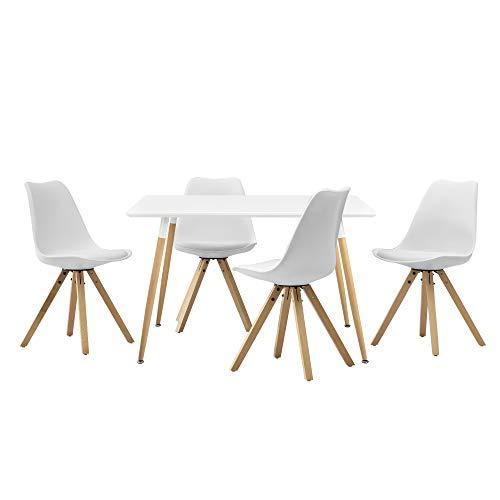 [en.casa] Esstisch mit 4 Stühlen weiß Gepolstert 120x70cm Kunstleder Esszimmer Essgruppe Küche -
