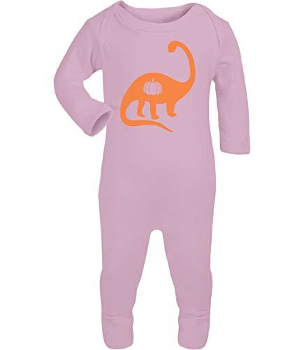Shirtgeil Halloween Baby Strampler mit Dino Kürbis in Schwarz Baby Strampler Strampelanzug 6-12 Monate (74/80) Rosa