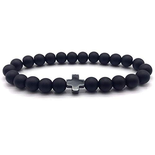 Armband Armreif,Schmuck Geschenk,Cross Beaded Men Bracelet Fashion New Classic Simple Accessories Stone Bead Charm Bracelet for Men Jewelry Gift (Brighton Schmuck-box)