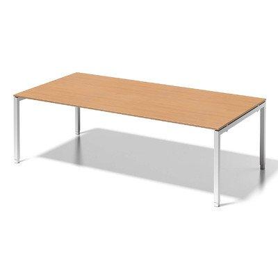 Bisley Cito Chefarbeitsplatz/Konferenztisch, 650-850 mm Höheneinstellbares U H 19 x B 2400 x T 1200 mm, Dekor Buche, Gestell Verkehrsweiß, Metall,...