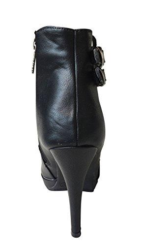 Refresh Stiefelette mit Absatz Damen Schwarz Black