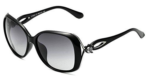 Da donna occhiali da sole grande cornice protezione UV400occhiali Vintage, colore: nero, Typ 2