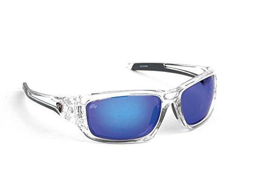 Fox Rage Sunglasses - Polarisationsbrille zum Spinnfischen & Fliegenfischen, Polbrille zum Angeln, Angelbrille zum Raubfischangeln, Modell:Transparenter Rahmen/Blaue Gläser