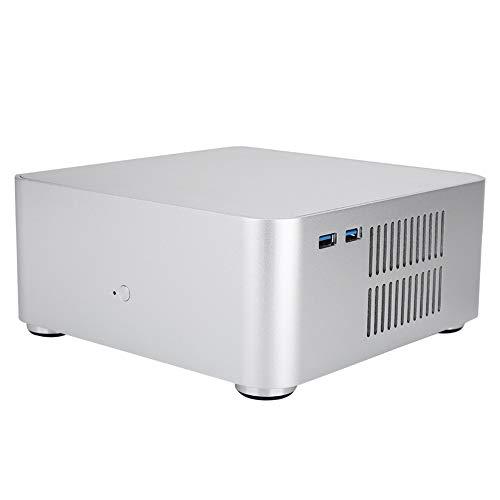 ASHATA Mini-ITX-Computergehäuse USB3.0 Aluminiumlegierung-HTPC-Gehäuse Mini-PC-Computergehäuse 80MM (Silber) 1015 Micro Case