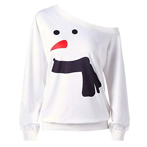 VEMOW Heißer Elegante Damen Frauen Plus Größe Schneemann Druck Langarm Casual Täglichen Party Sweatshirt Tops Bluse Shirt Pulli(, EU-40/CN-2XL)