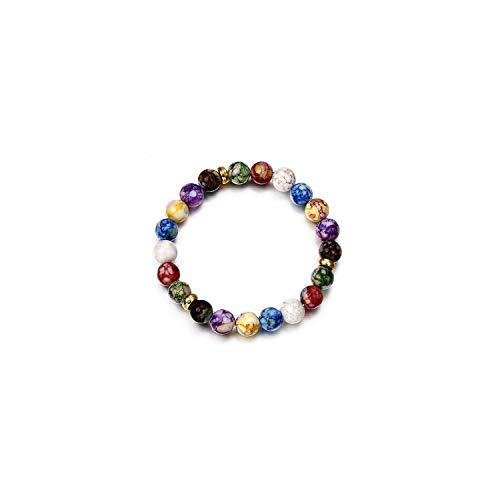 Awertaweyt Edelstein Perlen Armband Charm Women Bracelet Colorful Chakra Natural Beads Stone YogaABCDEFBeaded Bracelet for Women Lady Girl Jewelry Gift 5 (David Yurman Ring Damen)