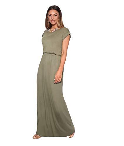KRISP 3269-KHA-08 Damen Leichtes Kleid (Khaki, Gr.36) - Retro-kleid-schuhe