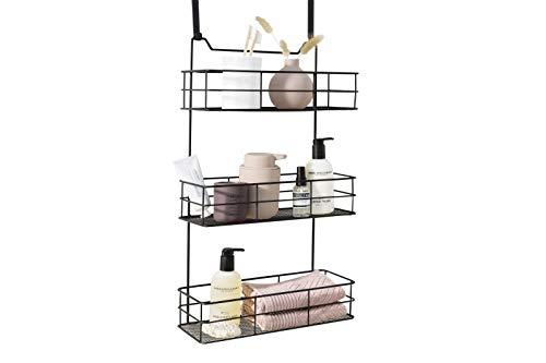 LIFA LIVING Türregal zum Einhängen   Einhängeregal für Bad und Küche   Hängeregal für Küchenartikel, Reinigungsmittel, Badzubehör und mehr   Schwarzes beschichtetes Metall