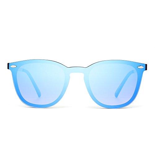 JIM HALO Randlos Sonnenbrille Ein Stück Spiegel Reflektierend Brille für Damen Herren
