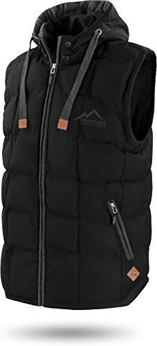 normani Outdoor Sports Wattierte Steppweste Bodywarmer - 100% Winddichte Outdoor Weste mit Lederpatch, Kapuze und Stehkragen Farbe Black Größe 3XL/58