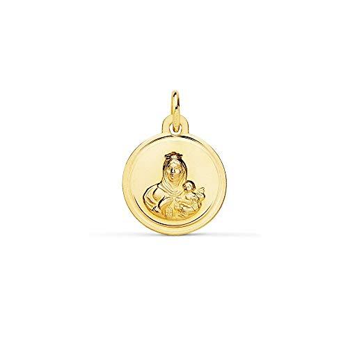 Colgante Oro 18K Escapulario 12mm. Virgen Del Carmen Corazón De Jesús Cerco