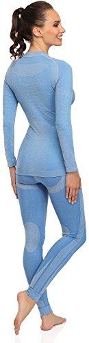 Merry Style Damen Funktionsunterwäsche Set lange Unterhose plus langarm Shirt thermoaktiv 06 110w 120w Blau