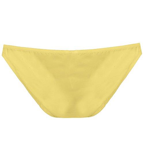 ADOME Herren Slips Kurze Briefs Atmungsaktive Ice Silk Triangle Tanga Solide Unterhosen Bikinis Unterwäsche Boxershorts Gelb