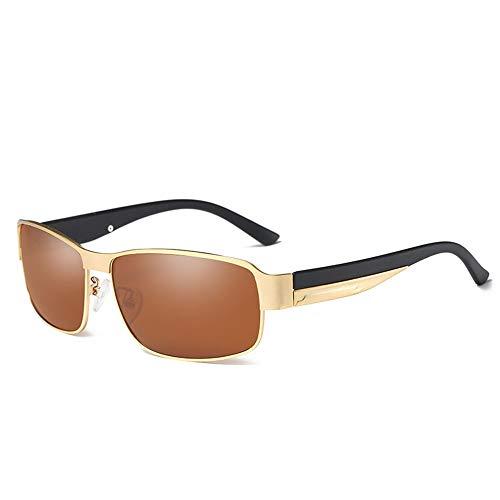 Honneury Retro Square Driving Casual Brille, polarisierte Sport-Sonnenbrille für Männer (Farbe : Bronze Frame)