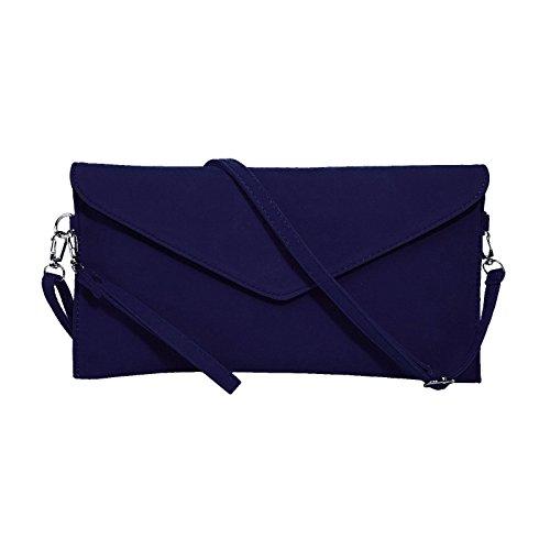 Jieway Women's Faux Suede Embrayage épaule sac à main messenger enveloppe sacs (Marine)