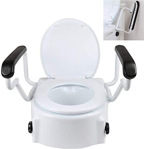 WuLien Toilettensitzerhöhung, Armlehnen, Deckel, Höhenverstellbar in 3 Positionen (6, 10 und 14 cm), Toilettenhilfen, rutschfest, für ältere Menschen, Behinderte, eingeschränkter Mobilität