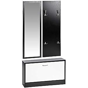 ts-ideen 3er Set Wand-Garderobe Wand-Spiegel Schuhkipper Schuhschrank Sitzbank Schwarz Weiß