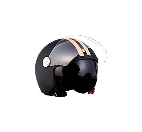 ARROW HELMETS AV-63 Fun Matt Black Helmet Motorrad-Helm Vespa-Helm Scooter-Helm Vintage Cruiser Biker Roller-Helm Pilot Bobber Mofa Jet-Helm Retro Chopper, ECE zertifiziert, inkl. Sonnenvisier, inkl. Stofftragetasche, Matt Schwarz (Fun), L (59-60cm)