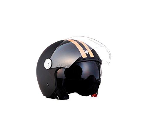 ARROW HELMETS AV-63 Fun Matt Black Helmet Motorrad-Helm Vespa-Helm Scooter-Helm Vintage Cruiser Biker Roller-Helm Pilot Bobber Mofa Jet-Helm Retro Chopper, ECE zertifiziert, inkl. Sonnenvisier, inkl. Stofftragetasche, Matt Schwarz (Fun), M (57-58cm)
