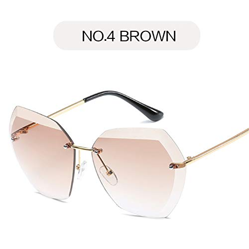 Brillen,Sonnenbrillen,Zubehör,Rimless Diamond Cutting Lens Sunglasses Women Brand Designer Shades Sun Glasses Oversize Male Female Glasses UV400 NO4 BROWN