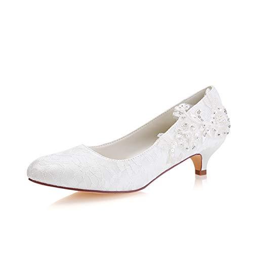 Emily Bridal Lace Mutter Schuhe Round Toe Hochzeitsschuhe Elfenbein Brautschuhe (EU35, Elfenbein) Lace Round Toe Pumps