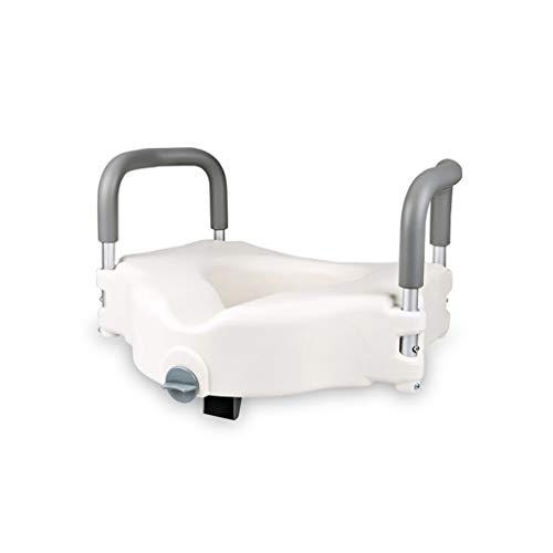 Cheng-Badehocker WC-Armlehne WC-Sitzhöhenvorrichtung barrierefreies älteres WC-Handlauf Schwangere Frauenstuhl Armlehne (weiß)