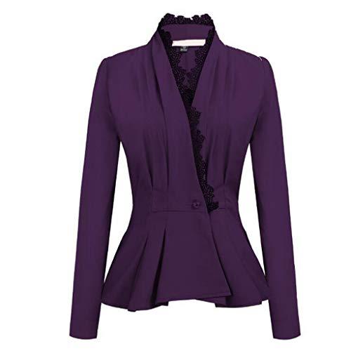 SANNYSIS Damen Sakko Cardigan Elegant Blazer Leichte Jacke Jersey Anzugjacke Businessjacke Jacket Fließt Wunderbar Schön Punk T-Shirt Auch zur Edlen Anzughose Pumps (3XL, Lila) -