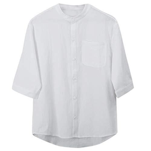 Luckycat Men Casual Leinen Shirts Strand-Hemden Leinenhemd Herren Henley Shirt Herren Freizeithemden Herren Kurzarm Hemd Herren Leinen Shirt Herren Stehkragen Leinenhemd Sommer Langarm Freizeithemd -
