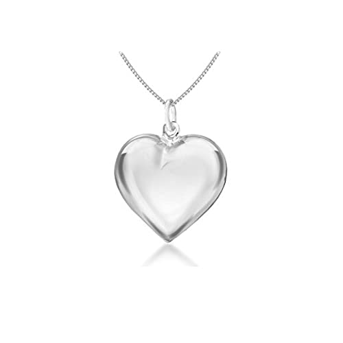 Silver heart pendant amazon tuscany silver sterling silver puff heart pendant on curb chain of 46cm18 aloadofball Images