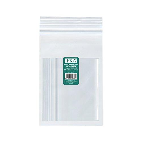 PKA 16395-Confezione da 100 sacchetti di plastica con autocierre, 160 x 220 mm