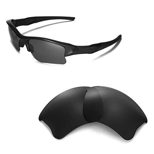 Walleva Ersatzgläser oder Gläser/Gummi-Set für Oakley Flak Jacket XLJ Sonnenbrille - 53 Optionen, Black - ISARC Polarized