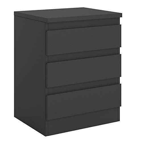 CARO-Möbel Nachttisch Dahlia grifflos Nachtschrank für Boxspringbett Nachtkonsole mit 3 Schubladen in schwarz -