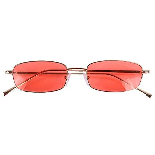 TOOGOO Gafas de sol vintage Mujeres Hombres Gafas rectangulares Pequenas gafas de sol retro Mujeres S8004 marco dorado Naranja