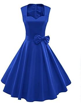 iLover Frauen 1950er Style Retro Rockabilly Schwingen Bogenknoten-Partei-Kleid