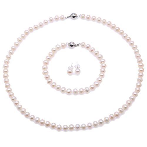 JYX Perlenkette Weiß eechte perlenkette weiss Süßwasser Perlenkette, Armband und Ohrstecker Set - Perlen Schmuckset Damen - AA Qualität (5-6mm Flache Runde Perle)