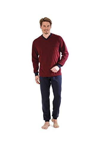 hajo Pyjama Schlafanzug 50022 302 bordeaux Klima Light, Größe:54 / XL